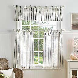 Martha Stewart Laguna Stripe 36-Inch Kitchen Window Curtain Tier Pair & Valance Set in Navy
