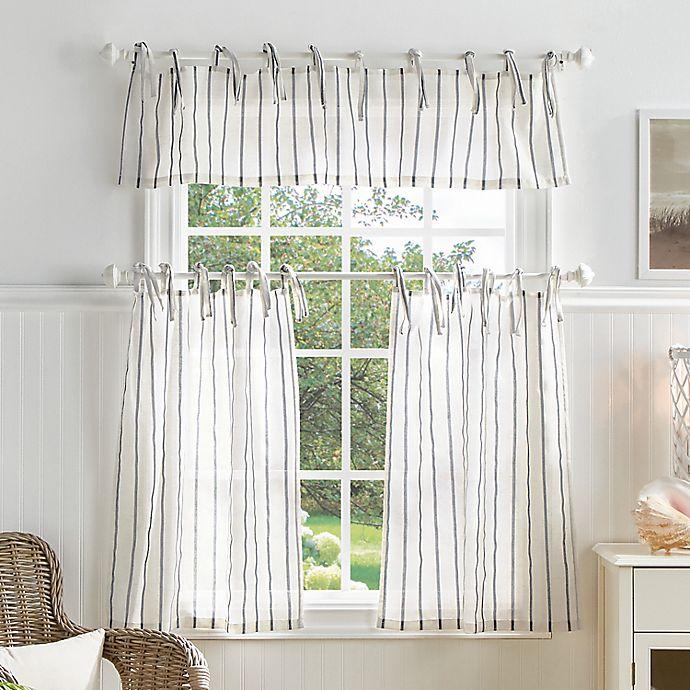 Martha Stewart Laguna Stripe 36 Inch Kitchen Window Curtain Tier Pair Valance Set Bed Bath Beyond