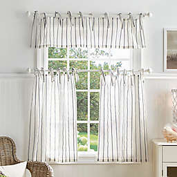 Martha Stewart Laguna Stripe 36-Inch Kitchen Window Curtain Tier Pair & Valance Set