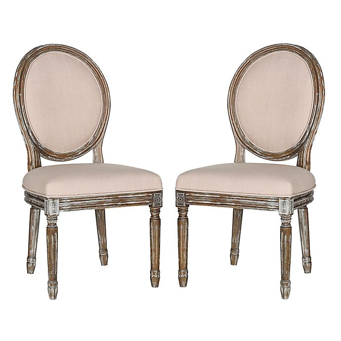 Alternate image 1 for Safavieh Holloway Oval Side Chairs in Beige Linen (Set of 2)