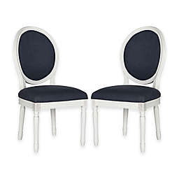 Safavieh Holloway Oval Dining Side Chairs in Navy Linen (Set of 2)