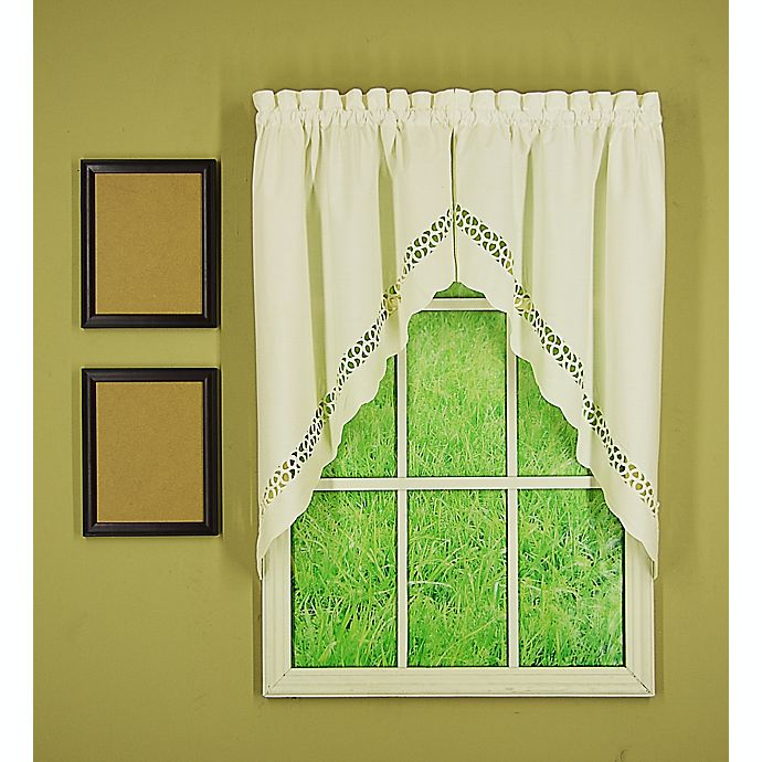 Alternate image 1 for Today's Curtain® Hellina Tapework 2-Pack Kitchen Window Swag Valances