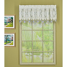 Today's Curtain Verona Tailored Window Valance in White/Blue