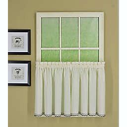 Today's Curtain Alpine 2-Pack 36-Inch Kitchen Window Curtain Tiers in Ecru/Navy