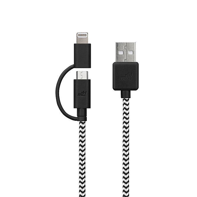 Alternate image 1 for MyTech 6-Foot Multicolor Braided Nylon Micro USB & Lightning Cable