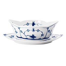 Royal Copenhagen Fluted Plain Gravy Boat with Stand in Blue