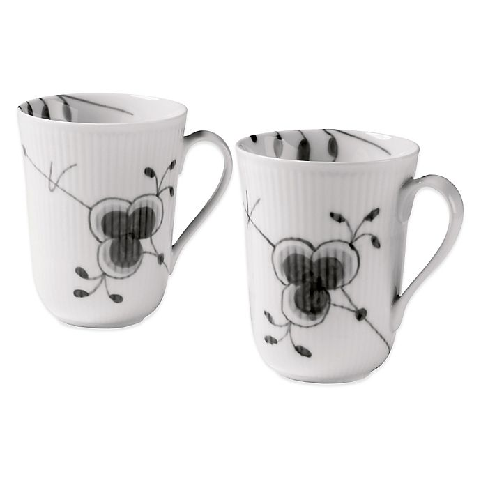 Alternate image 1 for Royal Copenhagen Fluted Mega Mugs in Black (Set of 2)