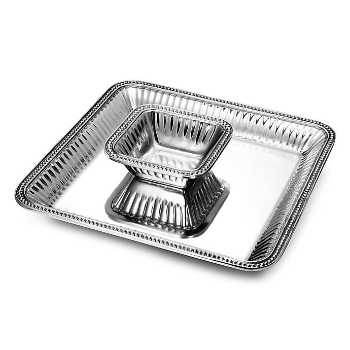 Alternate image 1 for Wilton Armetale® Flutes & Pearls 2-Piece Chip 'n Dip Dish