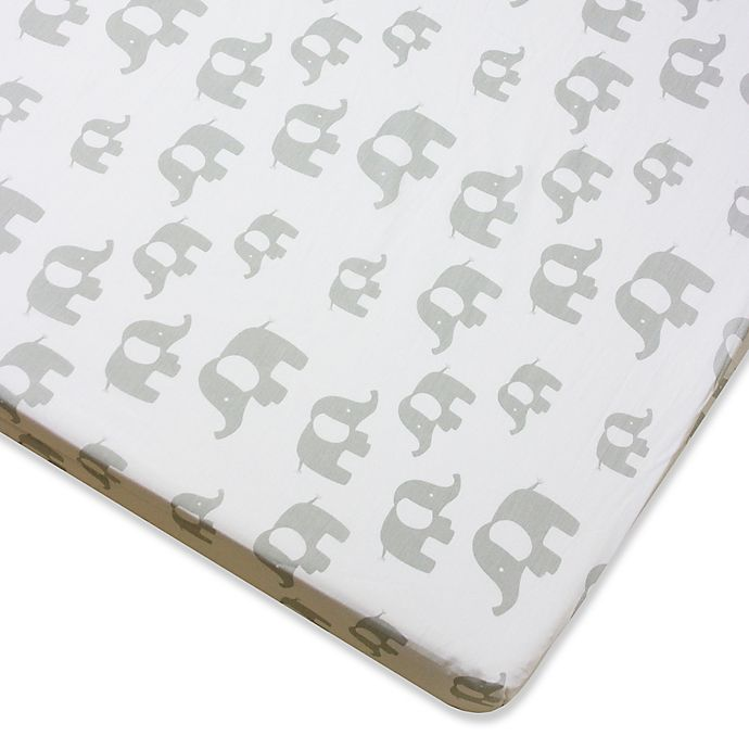 Alternate image 1 for Wendy Bellissimo™ Mix & Match Elephant Fitted Crib Sheet in Grey