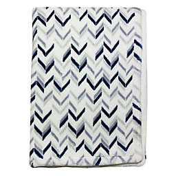 Wendy Bellissimo™ Mix & Match Chevron Plush Blanket in Grey/Navy