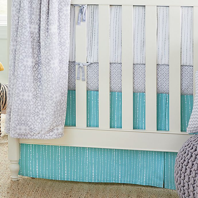 Alternate image 1 for Wendy Bellissimo™ Mix & Match Dotted Stripe Crib Skirt in Teal