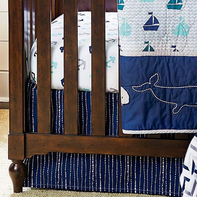 Alternate image 1 for Wendy Bellissimo™ Mix & Match Dotted Stripe Crib Skirt in Navy