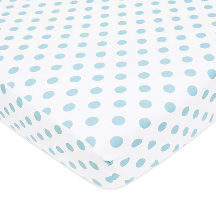Alternate image 1 for TL Care® Cotton Percale Polka Dot Fitted Crib Sheet in Blue