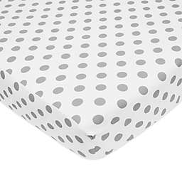 TL Care® Cotton Percale Polka Dot Fitted Crib Sheet in Grey