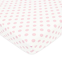 TL Care® Cotton Percale Polka Dot Fitted Crib Sheet in Pink