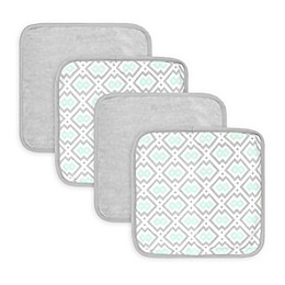 Just Born® Luxury Bath 4-Pack Geometric Print Washcloths in Blue/Grey