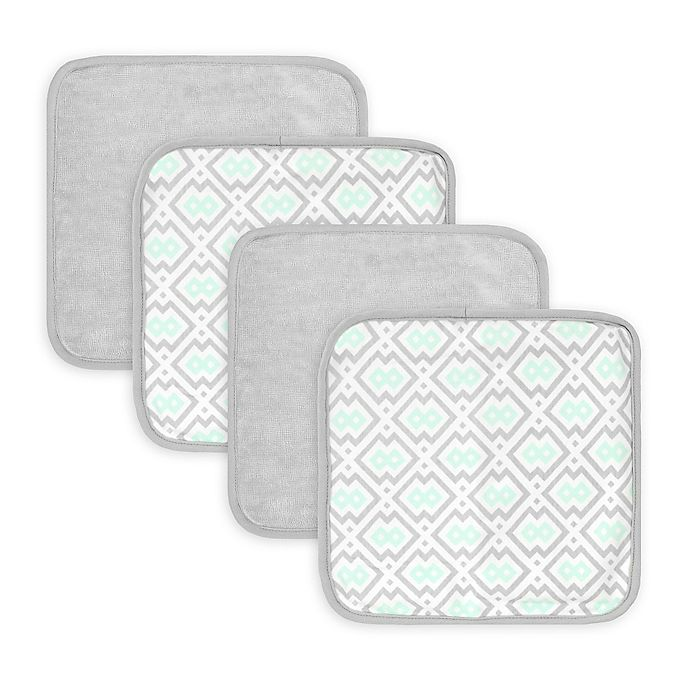 Alternate image 1 for Just Born® Luxury Bath 4-Pack Geometric Print Washcloths in Blue/Grey