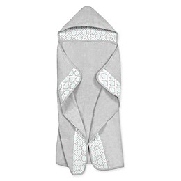 Just Born® Geometric Print Hooded Bath Towel in Blue/Grey