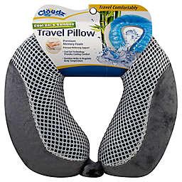 Clöudz® Cool Gel and Bamboo Memory Foam Travel Pillow in Grey