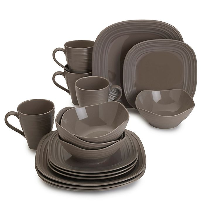 Alternate image 1 for Mikasa® Swirl Square 16-Piece Dinnerware Set in Mocha