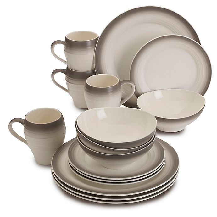 Alternate image 1 for Mikasa® Swirl Ombre 16-Piece Dinnerware Set in Mocha