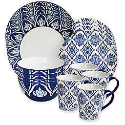 American Atelier Pirouette 16-Piece Dinnerware Set in Blue/White