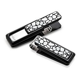 M-Clip® Black Aluminum with Black Enamel River Rock Money Clip
