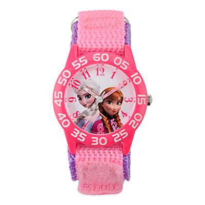 """Disney® """"Frozen"""" Anna and Elsa Children's 32mm Time Teacher Watch with Pink/Purple Nylon Strap"""