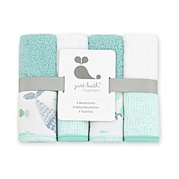 Just Born™ Under the Sea 4-Pack Washcloths in Sea Glass
