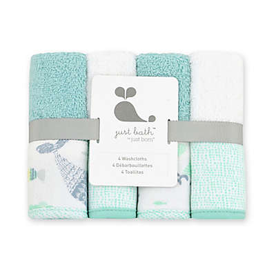 Just Bath by Just Born™ 4-Pack Under the Sea Washcloths in Sea Glass