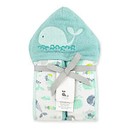 Just Bath by Just Born™ Size 0-9M Under the Sea Hooded Towel in Sea Glass