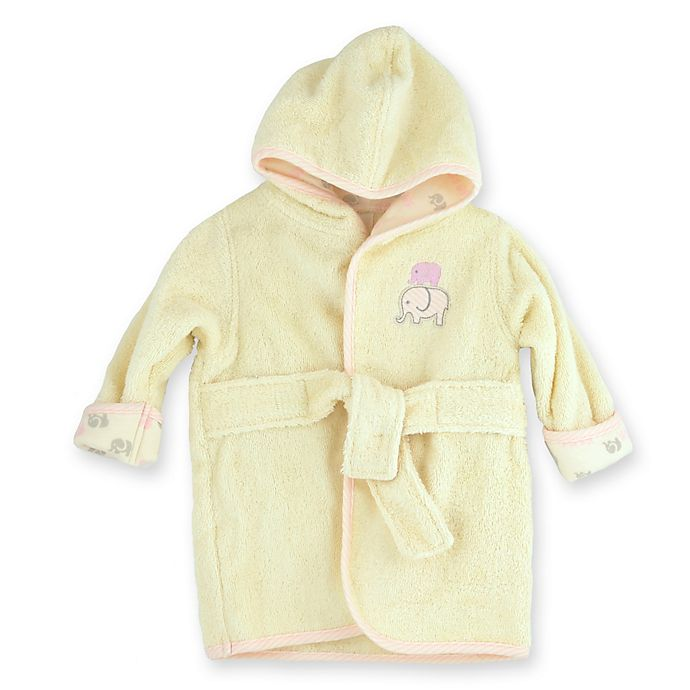 Alternate image 1 for Just Bath™ by Just Born® Size 0-9M Elephant Organic Cotton Robe in Cream/Pink
