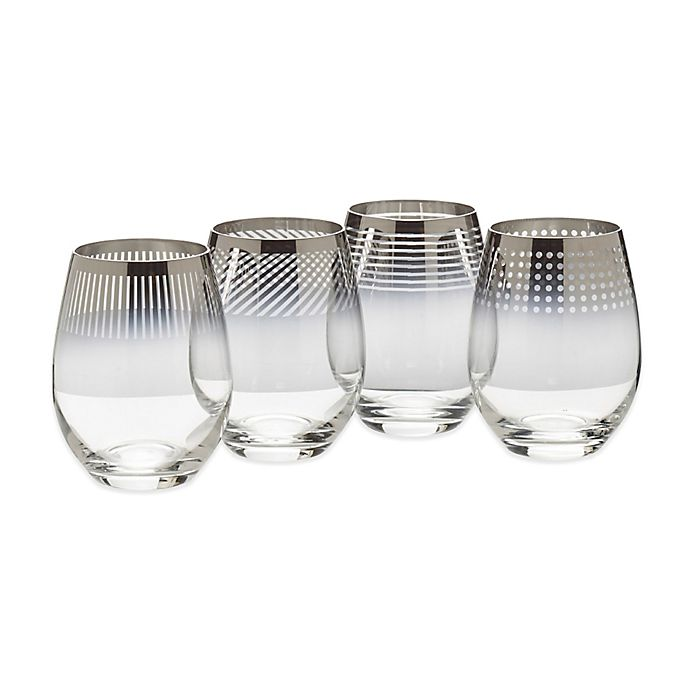 Alternate image 1 for Mikasa® Cheers Metallic Ombre Stemless Wine Glasses (Set of 4)