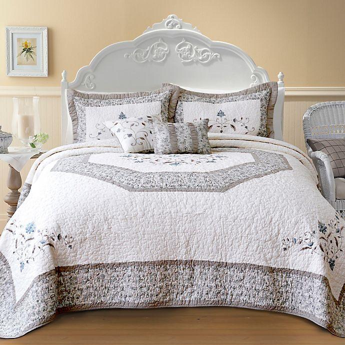 Alternate image 1 for Nostalgia Home Agnes Queen Bedspread in Ivory/Taupe