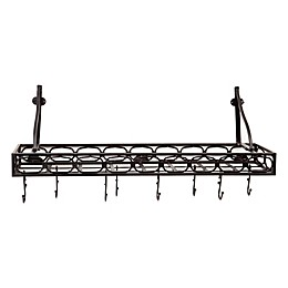 Old Dutch International Steel Bookshelf 36-Inch Pot Rack in Matte Black
