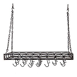 Old Dutch International Steel Rectangular Hanging Pot Rack in Matte Black