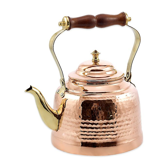 Alternate image 1 for Old Dutch International 2 qt. Hammered Tea Kettle in Copper with Wooden Handle and Brass Spout