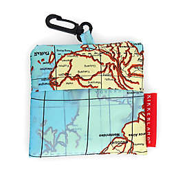 Kikkerland® Design World Map Travel Laundry Bag in Blue