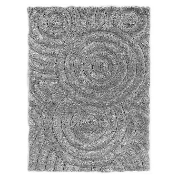 Alternate image 1 for Linon Home Links Circles 1-Foot 10-Inch x 2-Foot 10-Inch Shag Accent Rug in Grey