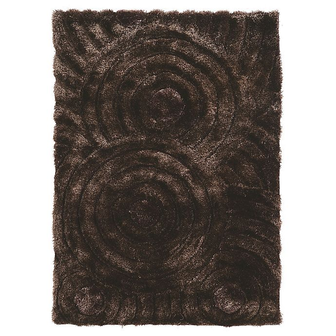 Alternate image 1 for Linon Home Links Circles 8-Foot x 10-Foot Shag Area Rug in Chocolate