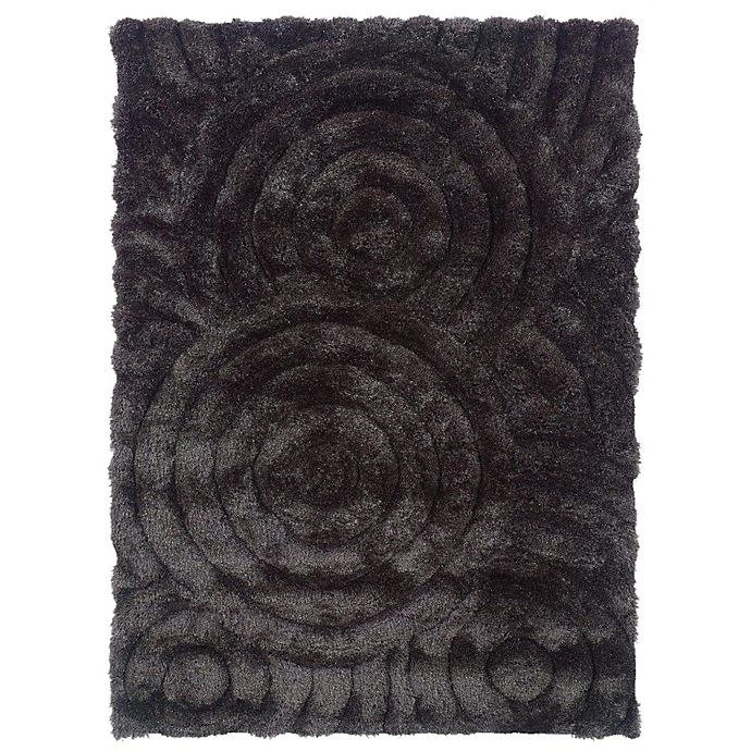 Alternate image 1 for Linon Home Links Circles 8-Foot x 10-Foot Shag Area Rug in Charcoal