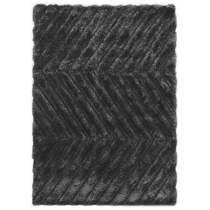 Alternate image 1 for Linon Home Links Zig-Zag 8-Foot x 10-Foot Shag Area Rug in Charcoal