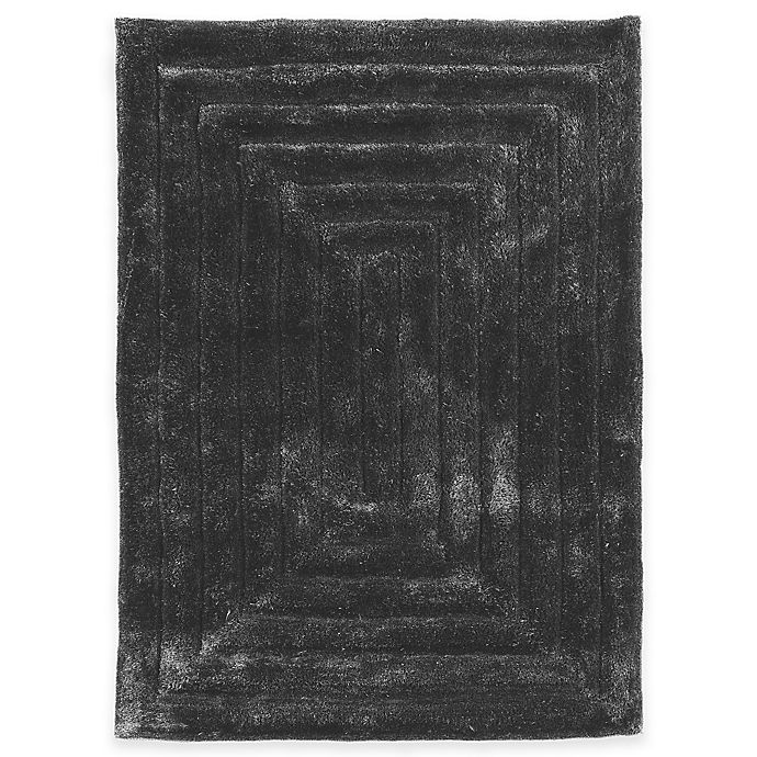 Alternate image 1 for Linon Home Links Squared 1-Foot 10-Inch x 2-Foot 10-Inch Shag Accent Rug in Charcoal