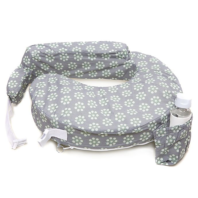 Alternate image 1 for My Brest Friend® Original Nursing Pillow in Grey with Sage Dotted Daisies