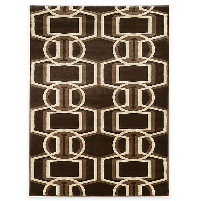 Alternate image 1 for Linon Home Roma Collection Bridle 5-Foot 3-Inch x 7-Foot Rug in Chocolate/Beige/Brown