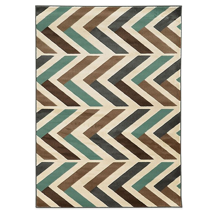Alternate image 1 for Linon Home Roma Collection Herringbone 5-Foot 3-Inch x 7-Foot Rug in Ivory/Turquoise