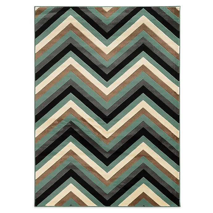 Alternate image 1 for Linon Home Roma Collection Chevron 2-Foot x 3-Foot Rug in Ivory/Turquoise