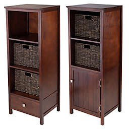 Winsome Trading Brooke Jelly Cabinet with 2 Baskets in Antique Walnut