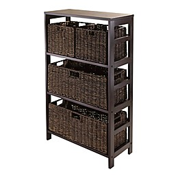 Winsome Trading Granville 3-Tier Storage Shelf with 4 Baskets in Espresso/Chocolate