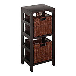 Winsome Trading Leo 2-Section Shelf with Baskets in Espresso